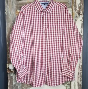 Tommy Hilfiger Red Plaid Mens Size 18/34-35 Shirt